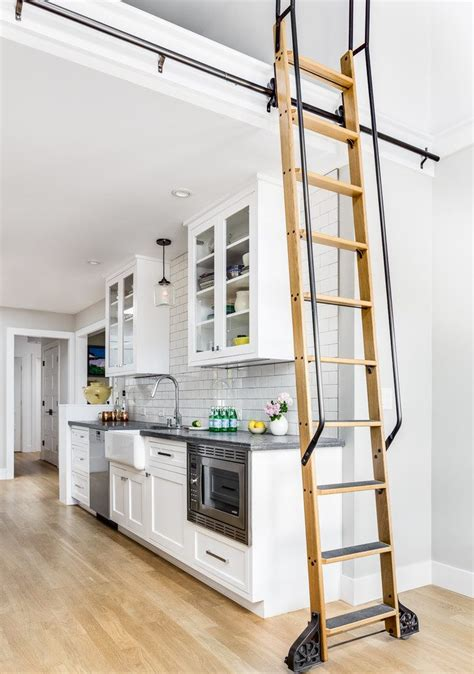 custom rolling ladder bookcase kitchen contemporary with