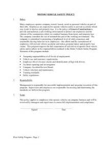 Employee Vehicle Use Agreement Template by Sle Fleet Safety Program