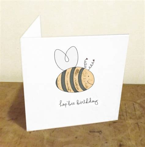 hap bee birthday funny pun handmade illustrated