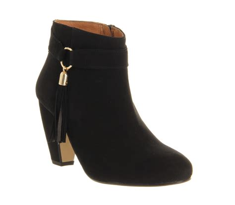 office bravo tassle boot black suede ankle boots