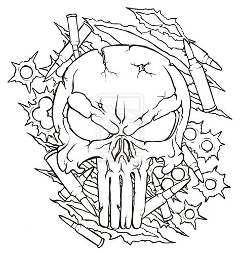 military outline skull tattoo design in 2017 real photo