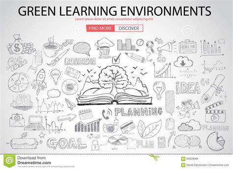 doodle learning green learning environment with doodle design style stock