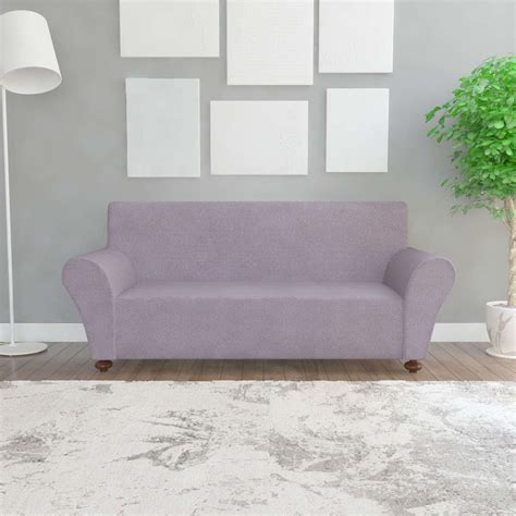 grey couch slipcover vidaxl stretch couch slipcover grey polyester jersey