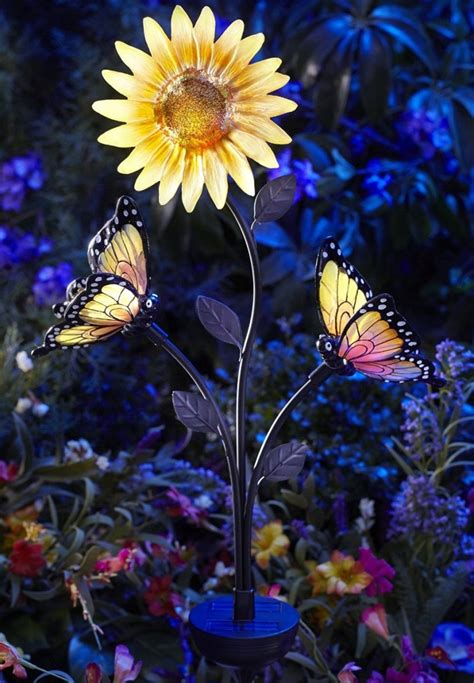 Solar Powered Butterfly And Sunflower Garden Brighter Sunflower Lights