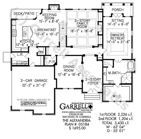 1st floor plan house alexandria house plan house plans by garrell associates