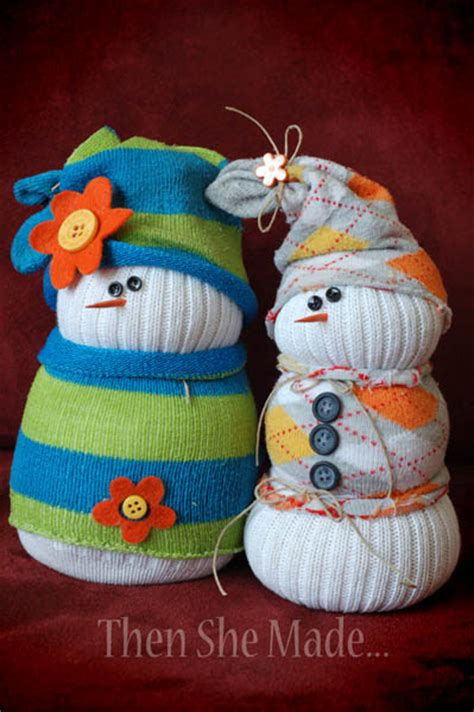 sock bean snowman then she made sock snowmen