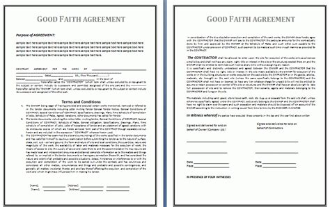 faith agreement template free business templates