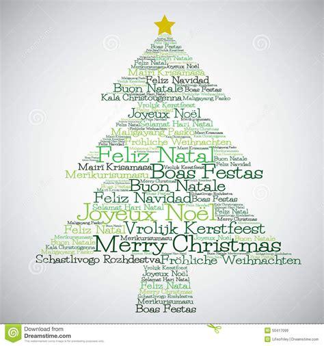 christmas tree   merry christmas   languages stock vector image