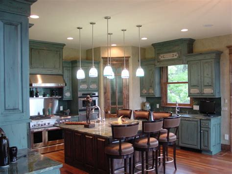 Blue Green Kitchen Cabinets by Blue Distressed Kitchen Cabinetry