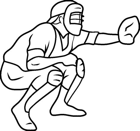 baseball catcher coloring page sports coloring pages