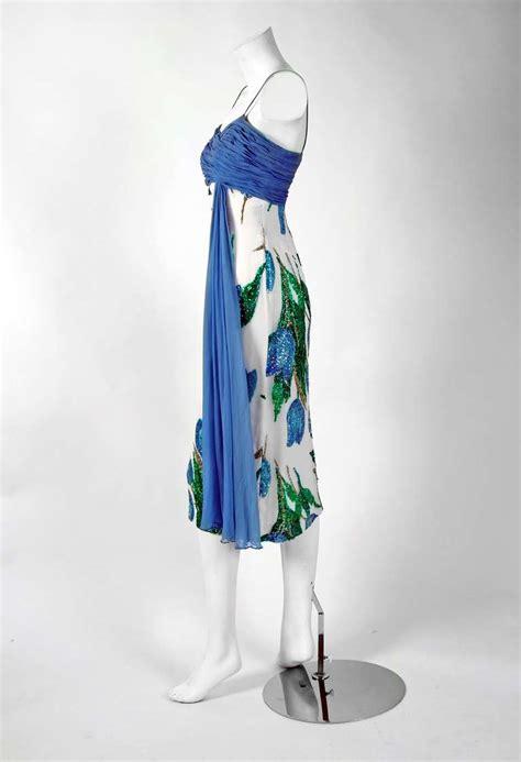 Shelf Bust Dress by 1950 S Watercolor Blue Tulips Floral Sequin Silk Shelf