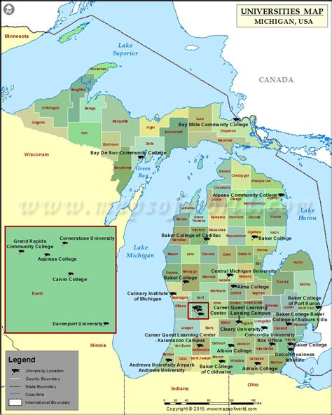michigan map of usa map of universities and colleges in michigan