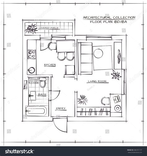 drawing floor plans by hand architectural hand drawn floor plan one bedroom apartment