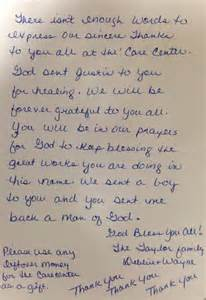 Thank You Letter Foster Mom christian care center 187 a heart felt thank you letter from the mom of