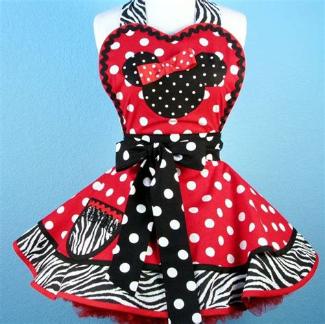Custom Apron Mini by Custom Order For Minnie Mouse Apron With White And