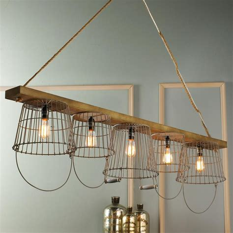 Wire Chandeliers Rustic Wire Basket And Wood Chandelier