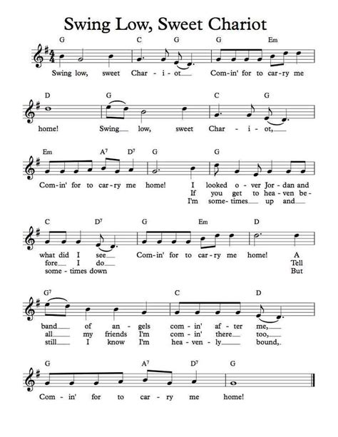 swing low sweet chariot piano chords free sheet music free lead sheet swing low sweet