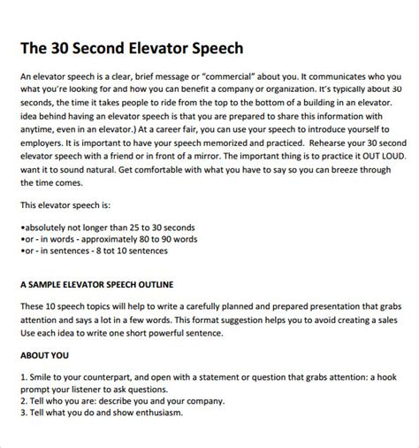 8 Elevator Speech Sles Sle Templates Elevator Pitch Presentation Template