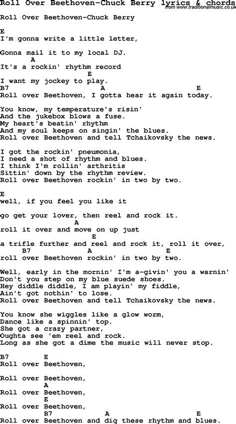 lyrics chuck song lyrics for roll beethoven chuck berry with