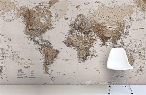 world map wallpaper murals earth tone world map mural wallpaper art pinterest