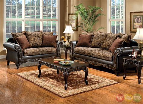 Brown Living Room Sets Rotherham Traditional Brown Living Room Set With Pillows Sm7630