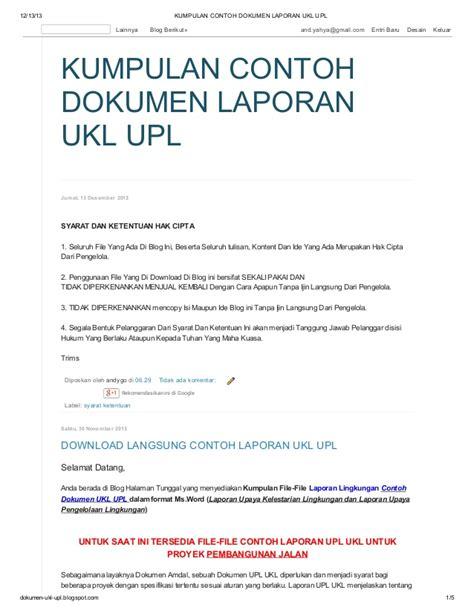 kumpulan contoh download langsung kumpulan contoh laporan ukl upl