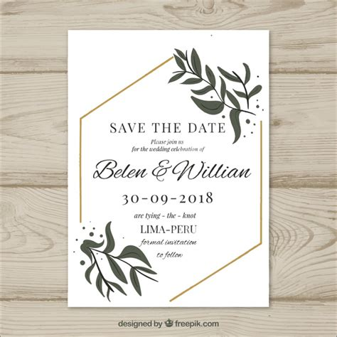 Wedding Invitation Design Freepik by Wedding Card With Modern Leaves Vector Free