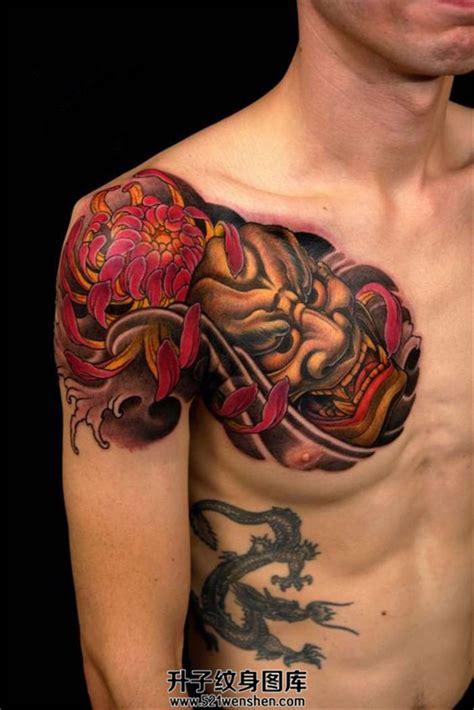 男性胸口传统纹身般若菊花纹身 升子纹身520