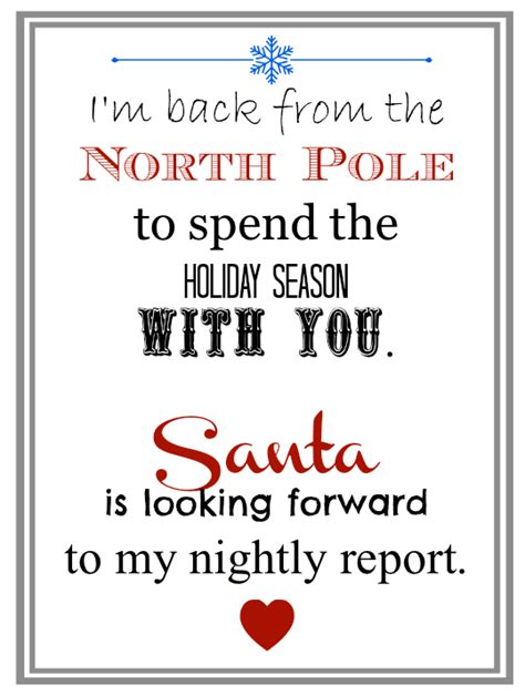 printable elf on the shelf return letter north pole notes august 2013