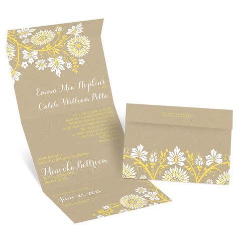 seal and send wedding invitations with photo prairie floral seal and send invitation invitations by