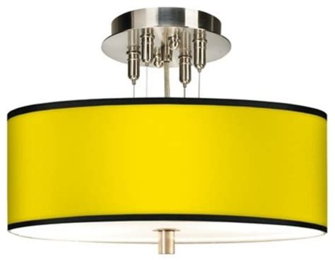 brushed steel all yellow drum shade ceiling light