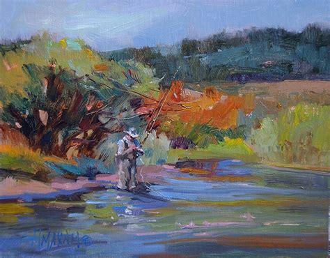 Great Sale F3y Original creekside meditation fly fishing montana landscape original painting by maxam