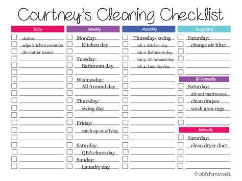 House Schedule by Home Cleaning Checklist New Calendar Template Site