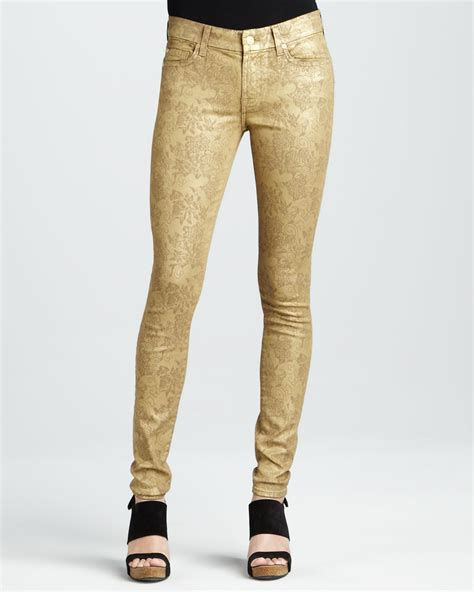 for all 7 for all mankind gold metallic floralprint
