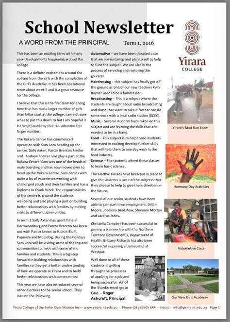College Newsletter Yirara College Newsletter Term 1 2016 Yirara College