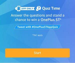 amazon quiz oneplus 5t 18th january answers added amazon quiz time answer