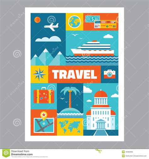 flat design poster vector travel mosaic poster with icons in flat design style