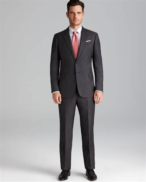 in suit armani pinstripe giorgio suit regular fit in gray for lyst