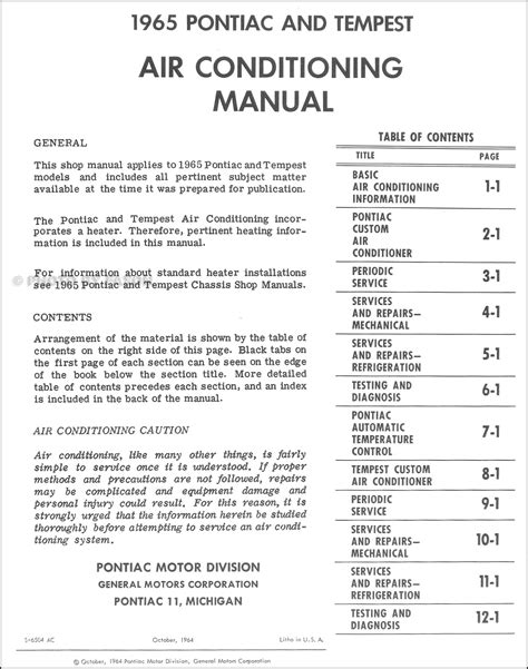 how to download repair manuals 1965 pontiac bonneville regenerative braking 1965 pontiac air conditioning shop manual gto tempest bonneville grand prix ac ebay