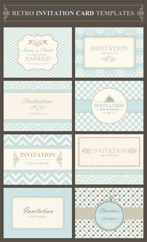 Free Exclusive Vector Illustration Retro Invitation Template Card Vector Template