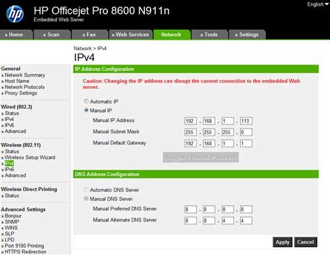 hp officejet 7000 reset ip address hp officejet pro 8600 network connection error message in