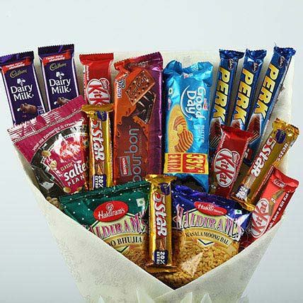 Snack Bouquet 6 mix snacks bouquet gift chocolate and chip bouquet ferns n petals