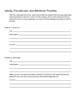 worksheet  quote paraphrase  summary practice tpt