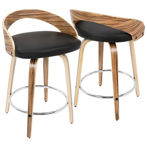 Lumisource Grotto Counter Stool by Lumisource Grotto Zebra Wood And Black Swivel Counter