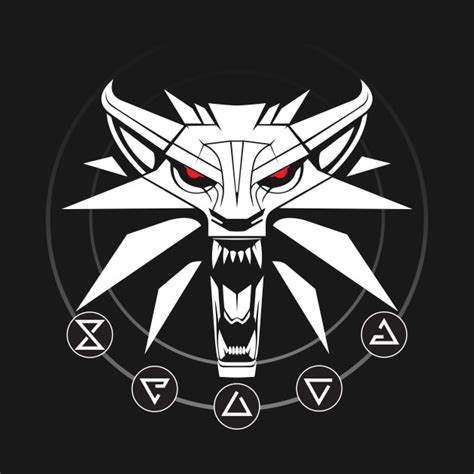 Hoodie The Witcher 3 New Logo school of the wolf white witcher t shirt teepublic