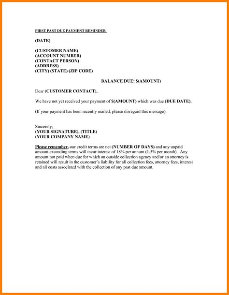Mortgage Payment Reminder Letter 6 Request For Invoice Letter Sle Park Attendant