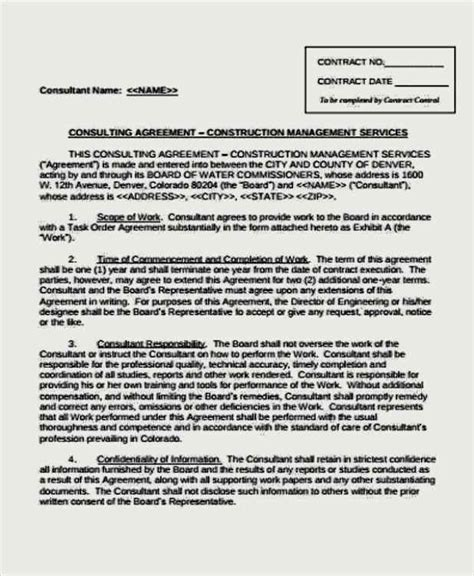 construction management agreement template business management agreement template sle templates