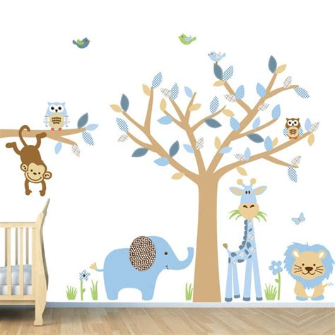 Boys Nursery Wall Decals Repositionable Baby Boy Room Jungle Wall Decals Boy Room Wall Decals Sg Size Animal Tree