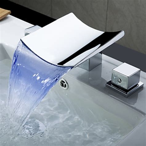 Waterfall Sink Faucet by Color Changing Led Waterfall Widespread Bathroom Sink