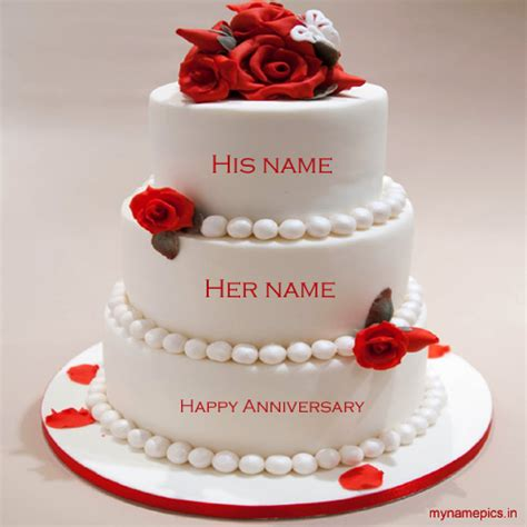 Wedding Card Name Generator by Write Name On Anniversary Cake And Send It To Friends